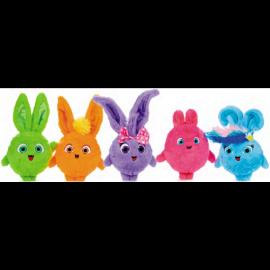 Sunny Bunnies peluche serie completa 5 pezzi -TURBO - IRIS - BIG BOO - HOPPER - SHINY - circa 35 cm l'uno