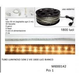 LUCI DI NATALE TUBO LUMINOSO BIANCO LUCE CALDA 50 MT 2 VIE 1800 LUCI X USO ESTERNO COD 8027501091766