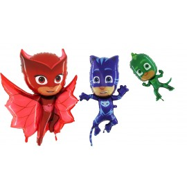 Offerta 3 pezzi - Palloncino Sagoma - Gekko - Gattoboy ( Catboy ) - Gufetta - dei Pj Masks Super Pigiamini …