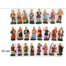 statuine da presepe in plastica 10 cm - 24 pezzi - 1 scatola assortita - versione economia