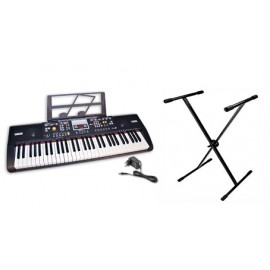 Bontempi Tastiera 61 tasti con tasti piano finzionante batteria o 220 Volt con trasformatore incluso + gambe regolabili  16 6115 - Tastiera da Tavolo
