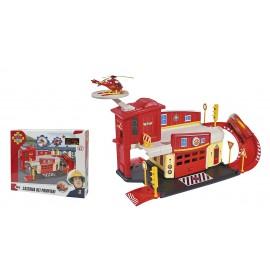 Giochi Preziosi - Sam il Pompiere Caserma dei Pompieri con Rampa e Pista di Atterraggio, Completo di Elicottero Wallaby