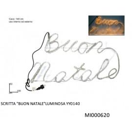 LUCI DI NATALE SCRITTA LUMINOSA CON SCRITTA ( BUON NATALE  ) DIMENZIONI 100X 53 CM USO ESTERNO / INTERNO  COD 8033113001673