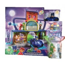 Super Pigiamini PJ Masks Playset Quartier Generale, incluso Gattoboy e Gattomobile + Gekko + Night Ninja - parla Italiano - Francese