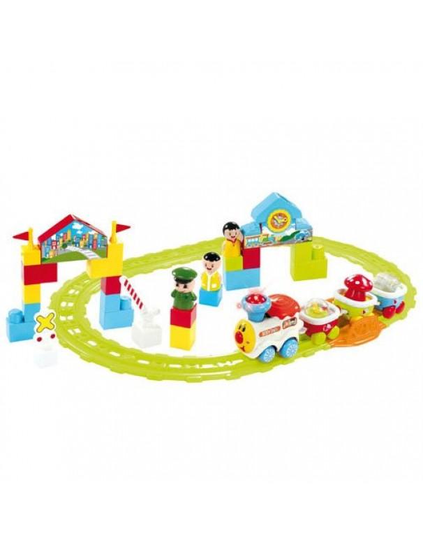 Baby Treno c/Rotaie locomotore+3 vagoni+3figure Eff.sonori  BTR0931