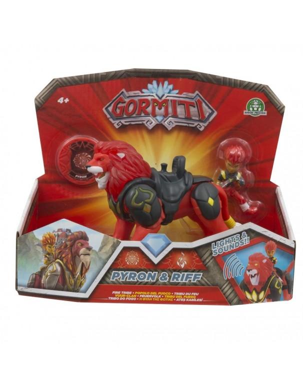 Gormiti Hyperbeasts Deluxe, Pyron con Luci e Suoni 15 cm e personaggio Riff di Giochi Preziosi GRM05000