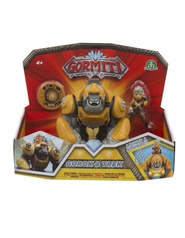 Gormiti Hyperbeasts Deluxe, Gorok con Luci e Suoni 15 cm e Personaggio Trek di Giochi Preziosi GRM05000