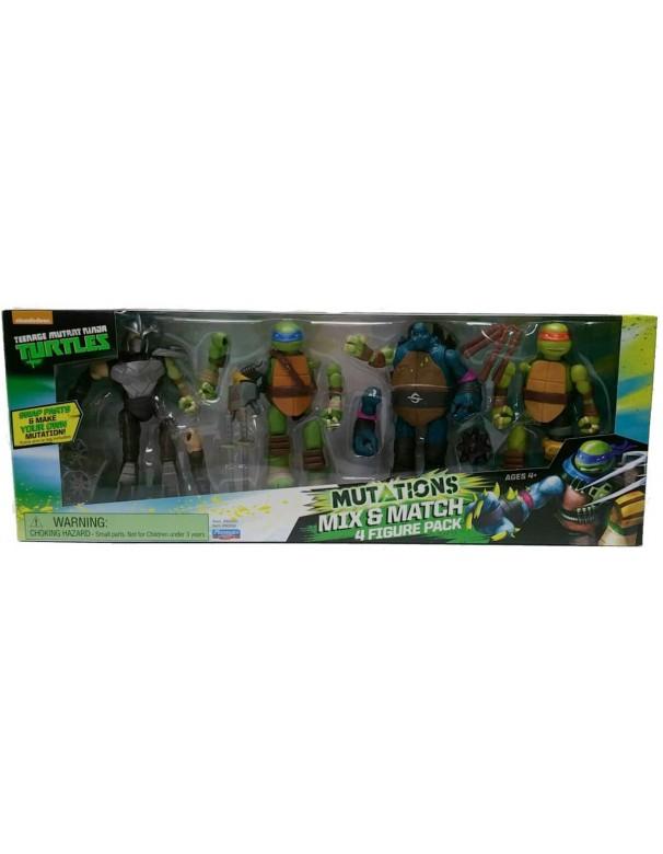 Turtles confezione 4 personaggi mutanti Mix N'Match -Leonardo - michelangelo - 4 personaggi