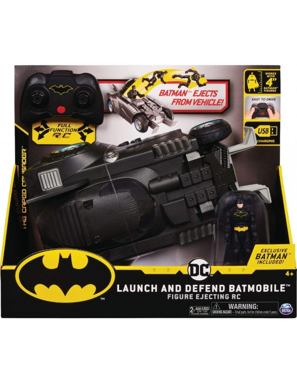 BATMAN Batmobile Radiocomandata Launch and Defend, con Personaggio da 10 cm, Spin Master  6055747