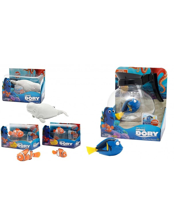 Disney DORY Funzionano a batteria offerta 4 pezzi ottimo come regalo - DORY CON LA SUA CARAFFA - SWIMMIND BAILEY - MARLIN - NEMO - completi di batteria